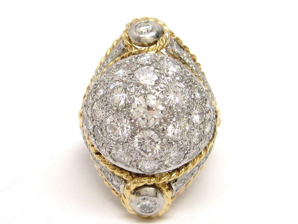 1950s Diamond Platinum & 18K Gold Designer Ring