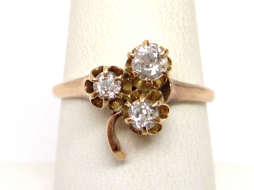 Victorian Diamond 14K Rose Gold Clover Ring c 1890