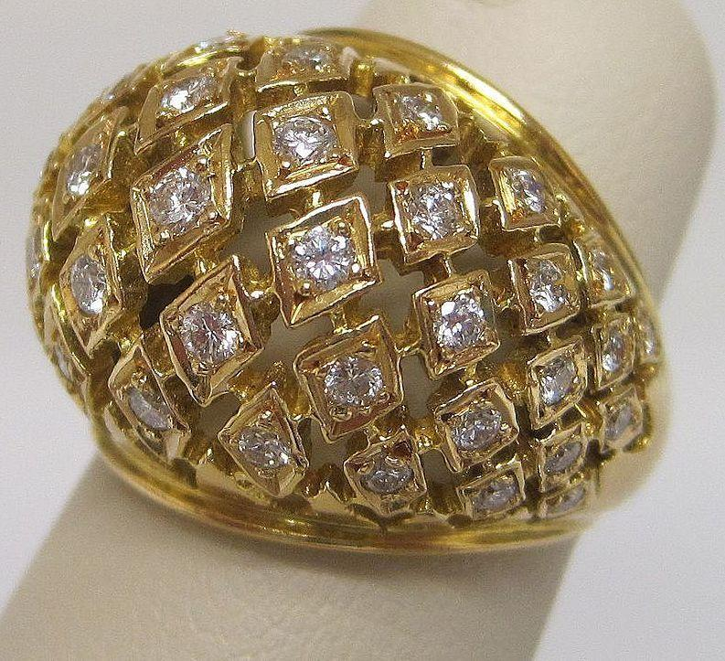 18K Gold and Diamond Designer Dome Ring by Lalalounis Greece