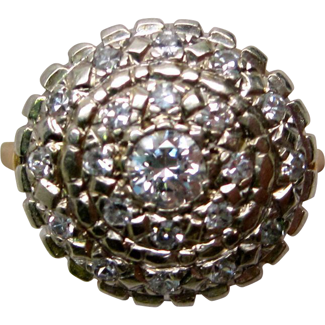 1950's Retro Diamond Cluster 14K Yellow Gold Ring