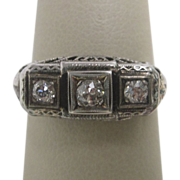 Three Diamond Ring in 14K White Gold Filigree
