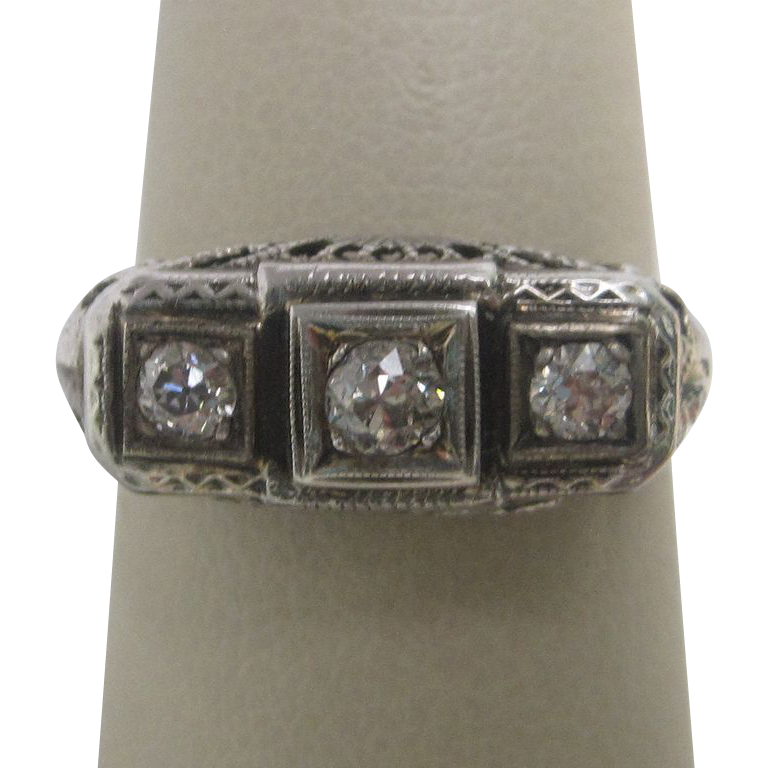Three Diamond Ring in 14K White Gold Filigree