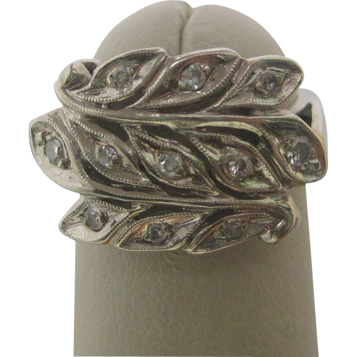 1960's 14K White Gold Peacock Feather Diamond Ring