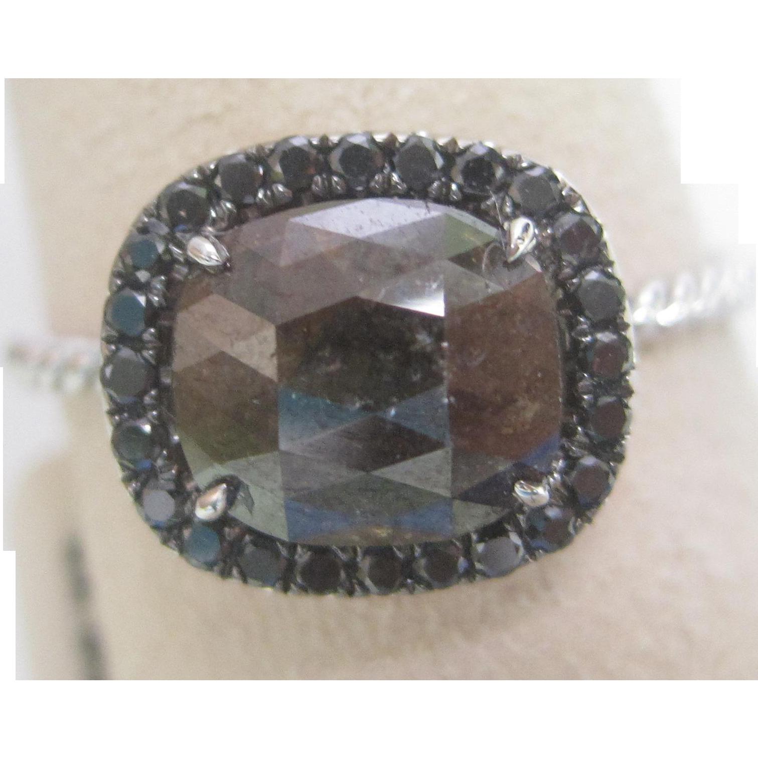 Natural Orange Brown Rose Cut 1.64 Carat Diamond Engagement Ring in 14K White Gold