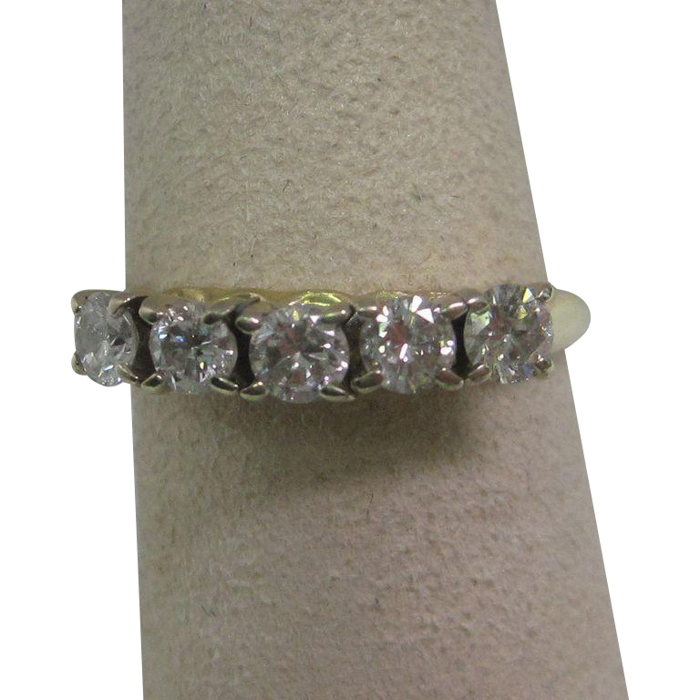 Five Stone Diamond Band in 14K Yellow Gold