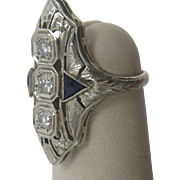 Art Deco Diamond and Synthetic Sapphire 18K White Gold Ring