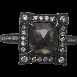 Natural 1.10 Carat Black Diamond Engagement Ring in 14K White Gold