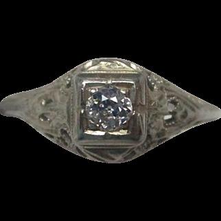 White Gold Filigree and Diamond Engagement Ring