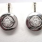 Retro Diamond 14K White Gold Earrings