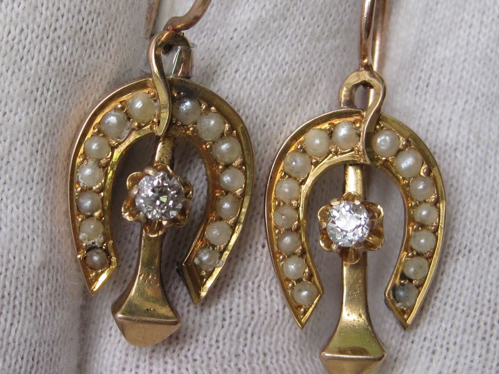 Victorian Horseshoe and Nail Earrings