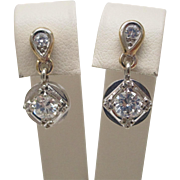 1950's Retro Diamond Dangle Earrings in 14K Two Tone White & Yellow Gold