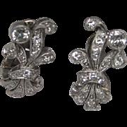 Art Deco Prince of Wales Plume Platinum 14K White Gold Diamond Earrings
