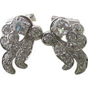 1925 Art Deco 6.25 cttw. Diamond Platinum Earrings