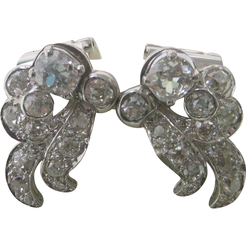 1925 Art Deco 6.25 cttw. Diamond Platinum Earrings