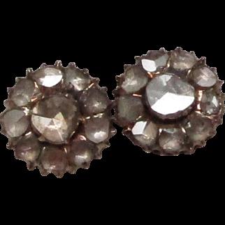 Georgian Rose Cut Diamond yellow gold Earrings
