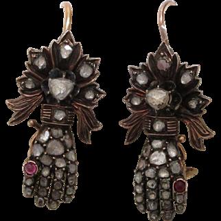 Ruby Diamond Gold All Original Gauntlet Rose Cut Hand Earrings