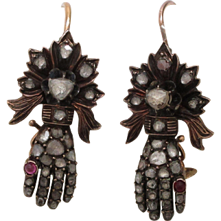 Ruby Diamond Gold All Original Gauntlet Rose Cut Hand Earrings