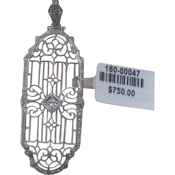 1920's Egyptian Revival 14K White Gold Diamond Pendant