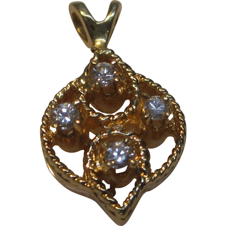 Estate 14K Yellow Gold Diamond Pendant