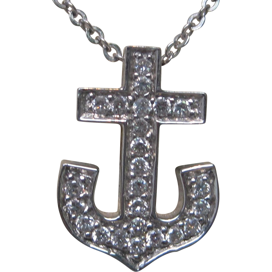 Anchor Diamond Pendant in 18K White Gold with Yellow Gold Filigree Accent