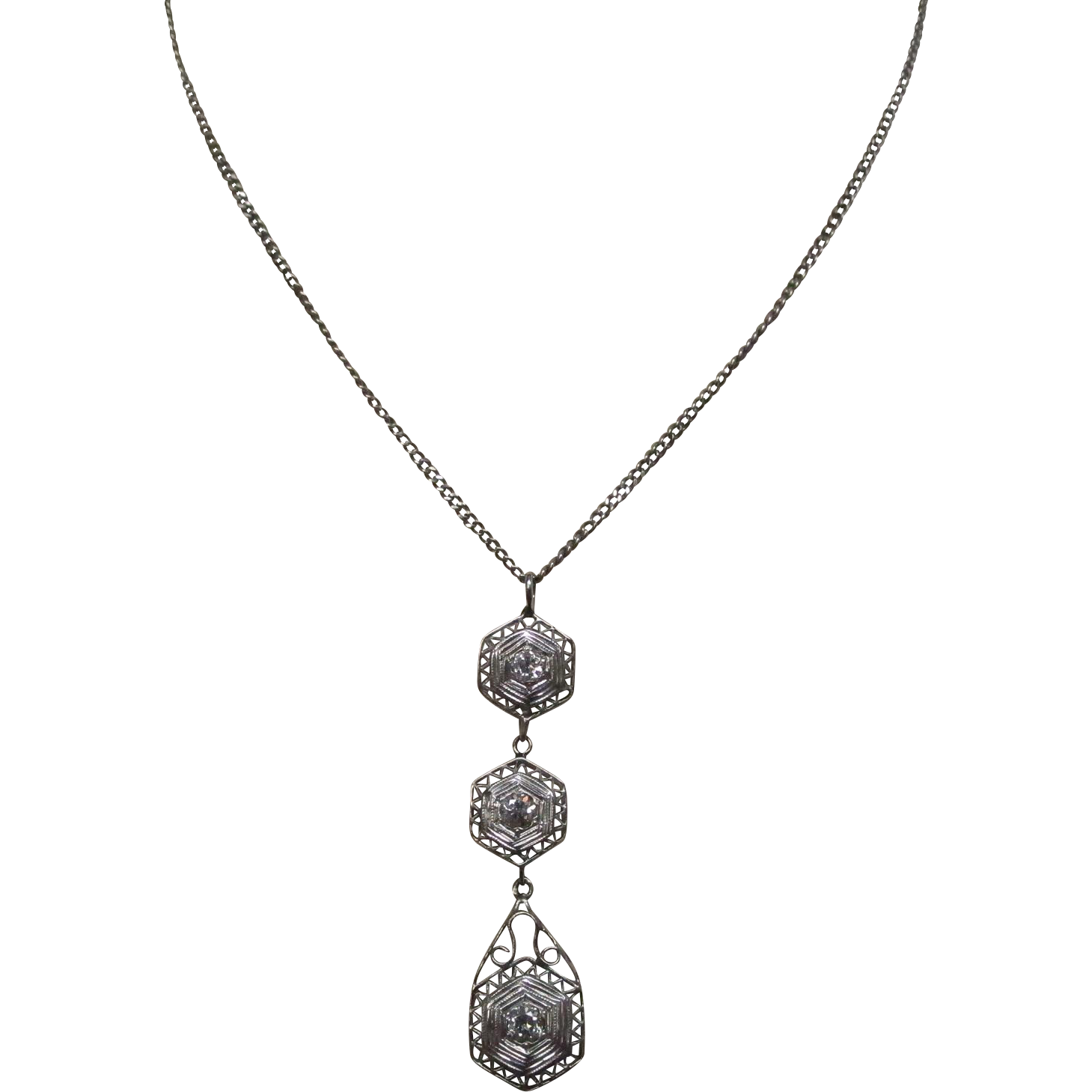 Art Deco Diamond Gold Necklace