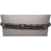 Platinum and White Gold Sapphire Diamond Bracelet