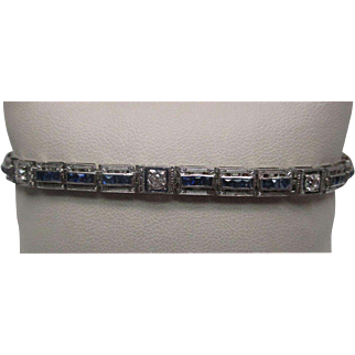 Platinum and White Gold Sapphire Diamond Bracelet