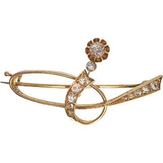 Russian Art Nouveau 14K Gold Diamond Brooch