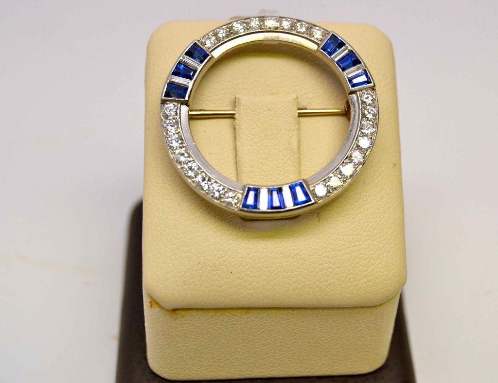 Platinum Deco Sapphire and Diamond Pin, 1925