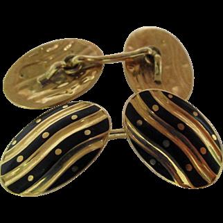 Heavy 18K Enamel Art Deco Cufflinks