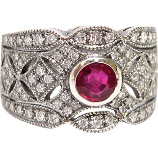 Deco Style Platinum Genuine Ruby Diamond Filigree Ring