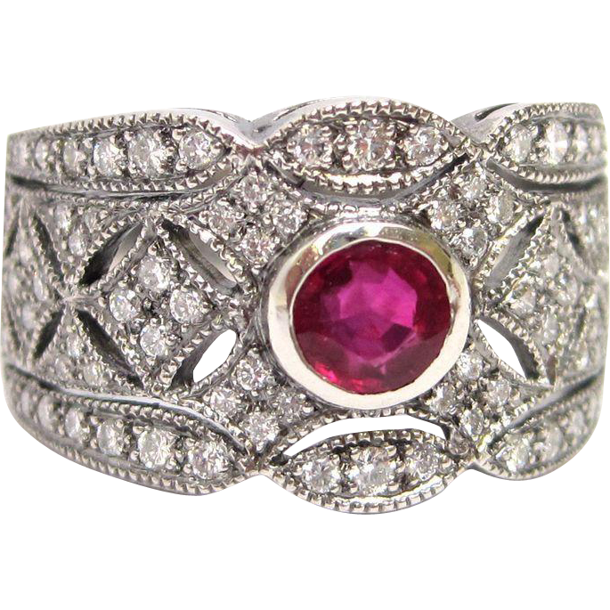 Deco Style Platinum Genuine Ruby Diamond Filigree Engagement Ring