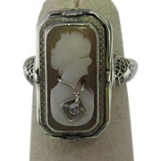 Art Deco Shell Cameo & Black Onyx Diamond Flip Ring