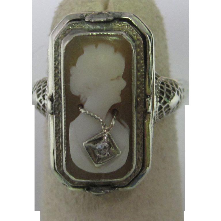 Art Deco Shell Cameo & Black Onyx Diamond Flip Ring