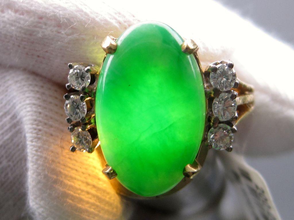Vintage Jadeite Jade and Diamond Ring