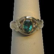 Estate Emerald & Diamond 14K Yellow Gold Ring