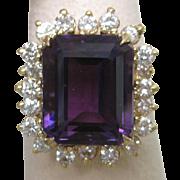 Amethyst & Diamond 18K Yellow Gold Ring