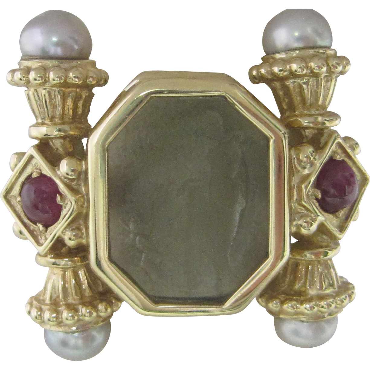 Estate Glass, Ruby and Pearl Ring in 14K Yellow Gold