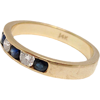 Diamond & Sapphire 14K Gold Wedding Band