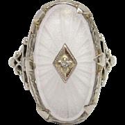 Carved Rock Crystal Diamond 14K White Gold Filigree Ring