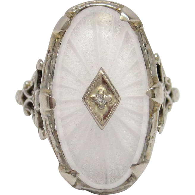 Carved Rock Crystal Diamond 14K White Gold Filigree Ring