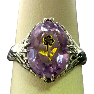 14K White Gold Amethyst Ring