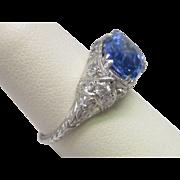 Platinum Art Deco Natural No Heat Sapphire Ring