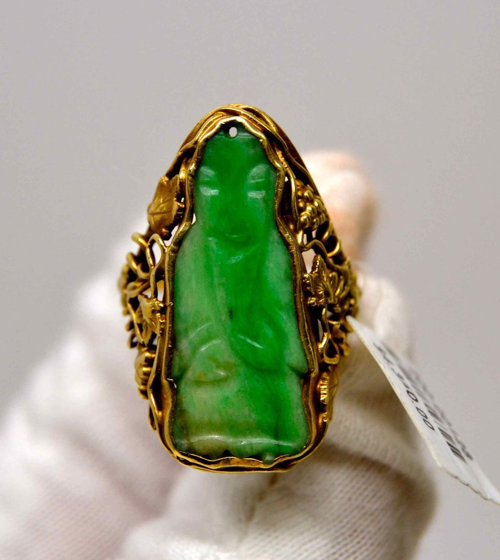 Arts and Crafts Jade Ring, 1914