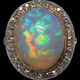 Edwardian Opal Diamond Platinum over Gold Ring
