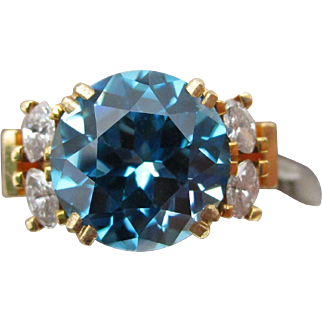 Jean-Francois Albert JFA 10 ct Natural Blue Zircon 18K Yellow Gold Adjustable Ring