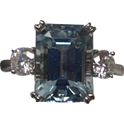 4.23 Carat Aquamarine Diamond Platinum Ring