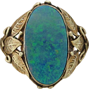 3.0 Carat Boulder Black Opal Arts and Crafts Ring