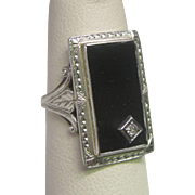 Art Deco Diamond & Black Onyx Ring in 10K White Gold