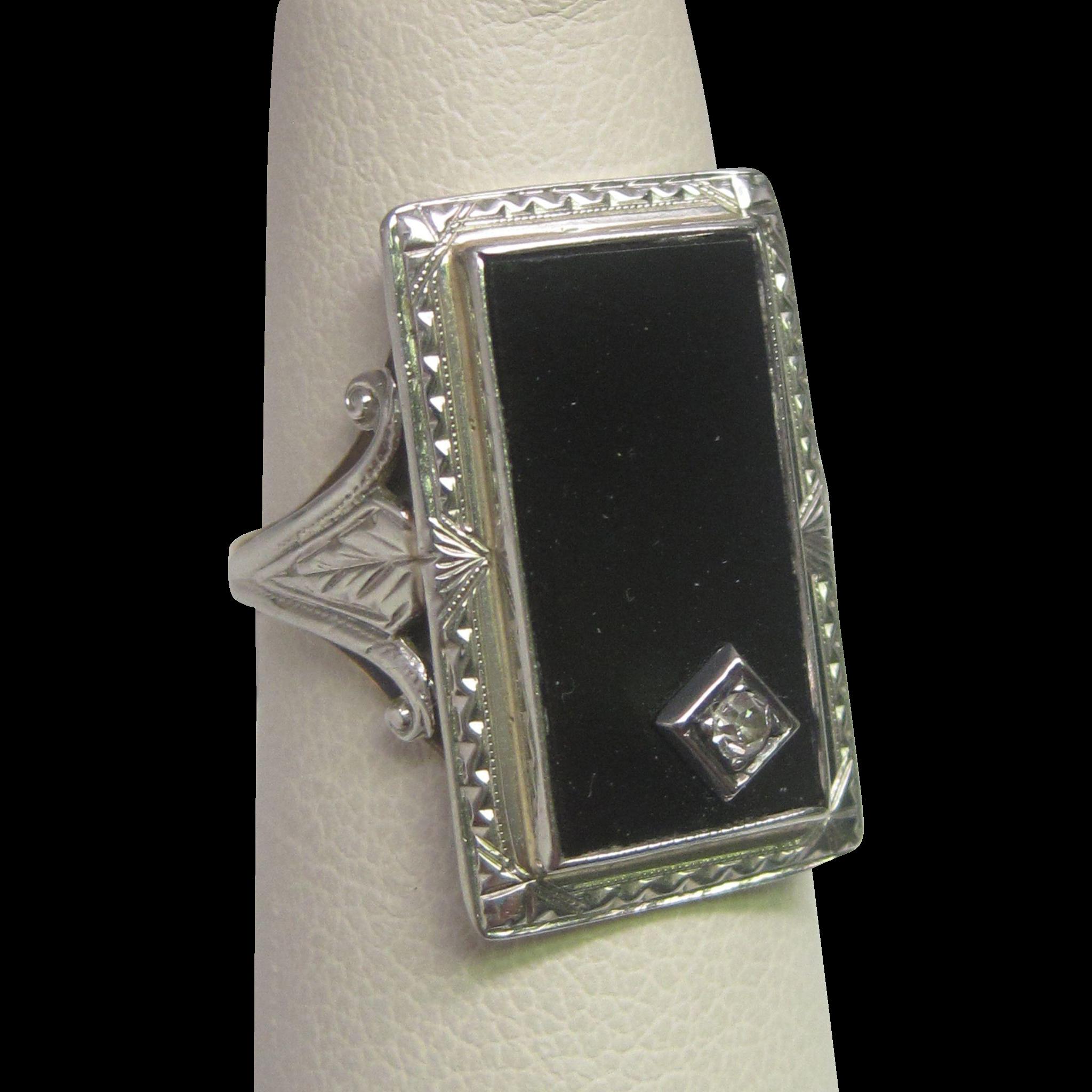 Art Deco Diamond & Black Onyx Ring in 10K White Gold